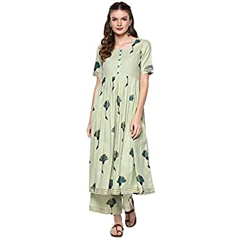 Idalia Women's Sage Green Printed Flared Cotton Kurta Set