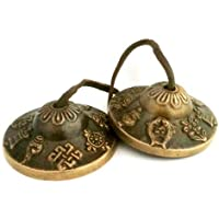 Handmade Tibetan Tingsha Cymbals (2.4, 8 Lucky Symbols) Buddhist Meditation Bell - Yoga/Spiritual/Buddhist/Chimes/Hand percussion instrument/Home Decor Gift Set