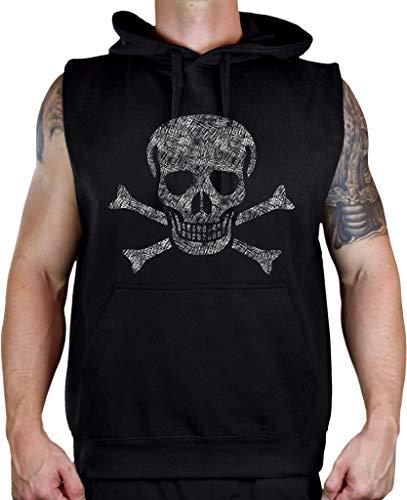 Koyotee Men's Sketch Jolly Roger Skull Black Sleeveless Vest Hoodie 4X-Large - Jolly Roger Sweatshirt