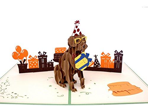 AITpop hand-crafted greeting card 3D Pop Up Card Card_birthday puppy(green (Pop Up Cards Halloween)