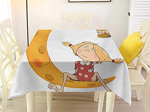 Can Wipe Square Tablecloth Teen Girls Little Girl Sitting Barefoot Moon with Eye and Lamp Childhood Mystery Theme Cartoon Orange Patio 50 x 50 Inch