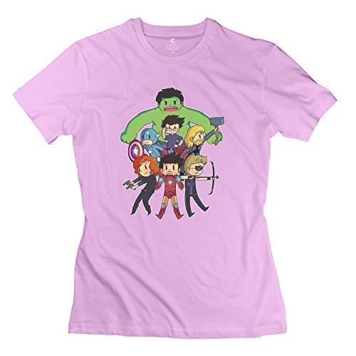 Yisw Women's Captain America Averngers Hulk Cartoons T-Shirt L Pink Slim Fit Swag