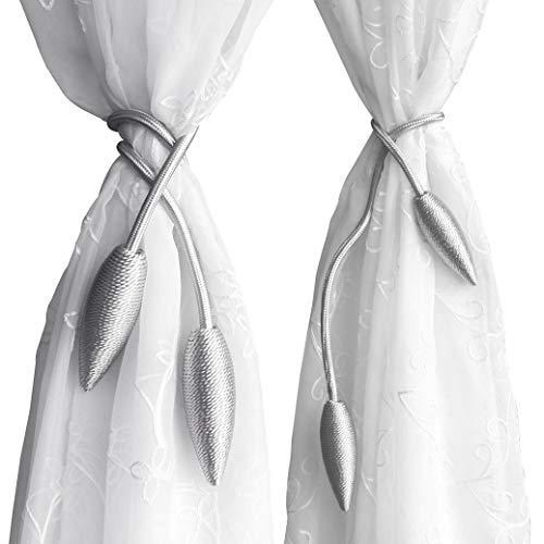 Valea Home 2 Pieces Curtain Tiebacks Clips Creative Window Drape Twist Tie Backs European Style Custom Made Curtain Holders Decorative Draperies Holdbacks, Silver Grey