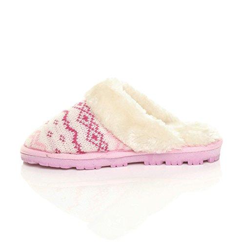 de pantuflas con y piel Zapatillas de invierno punto de lujo de mulas forro de mujer tamaño rosa tacón bajo planas en Fairisle tzYx8TwqY