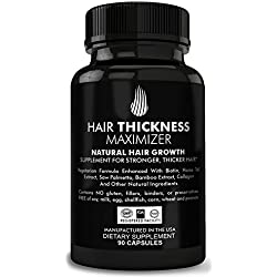 Hair Thickness Maximizer Natural Hair Growth Vitamins - For Stronger, Thicker Hair. MADE IN USA. Combat Hair Loss & Thinning Hair. SAFE Vegetarian Formula Enhanced With Biotin, Horsetail Ext & More