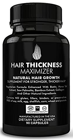 Hair Thickness Maximizer Natural Hair Growth Vitamins - For Stronger, Thicker Hair. MADE IN USA. Combat Hair Loss & Thinning Hair. SAFE Vegetarian Formula Enhanced With Biotin, Horsetail Ext & - Female Tonic Herb
