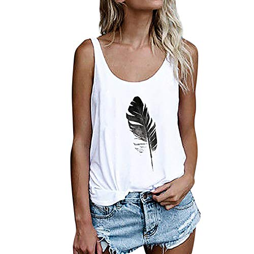 - OMSJ Women Shirts Sleeveless Summer Tunic Loose Fit Tank Tops (L, 02White)