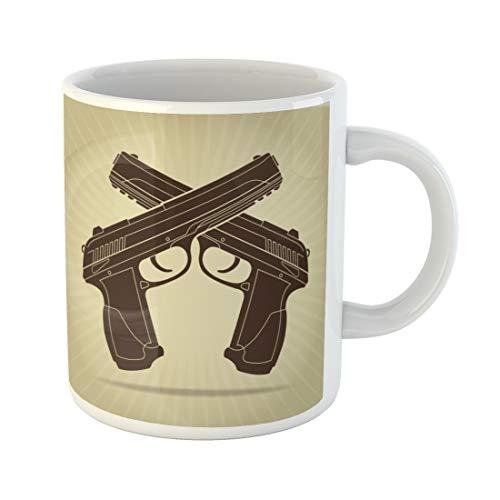 Semtomn Funny Coffee Mug Gun Retro Styled Crossed Pistols Silhouette Police Badge Military 11 Oz Ceramic Coffee Mugs Tea Cup Best Gift Or Souvenir ()
