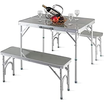 Giantex Aluminum Folding Camping Table Outdoor Portable Picnic Suitcase Table Set w/Bench 4 Seat, Silver-36 L