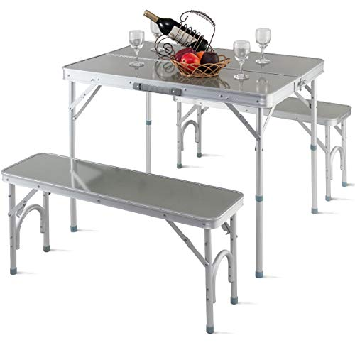 - Giantex Aluminum Folding Camping Table Outdoor Portable Picnic Suitcase Table Set w/Bench 4 Seat, Silver-36 L