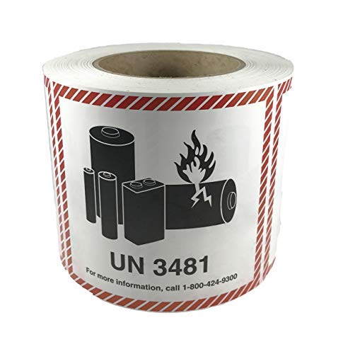 UN 3481 CHEMTREC Caution Lithium Battery Labels 4.5 x 4.75 inches 500 Labels