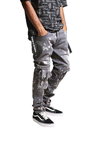 - KDNK Men's Slim Fit Stretch Denim Destroyed Moto Knee Patch Bleach Splatter Jeans (32, Grey)