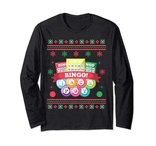 Jackpot Bingo Card Game Ugly Christmas Long Sleeve Shirt