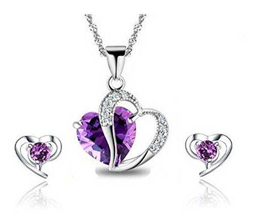 FindOut rhodié coeur en cristal Amethyst Collier en argent + boucles d'oreilles .très bonne idée cadeau pour tous 07