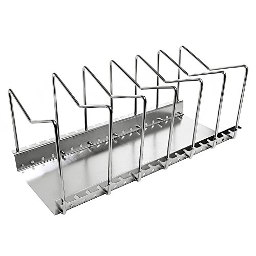 (Kes Stainless Steel Dish Rack Kitchen Pot Pan Lid Cutting Board Adjustable Organizer Holder with Drain Tray for Cabinet and Pantry Storage Organization, 6 Compartments, KLR201)