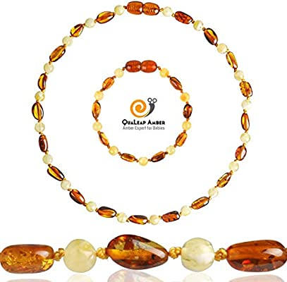 Unisex Cognac Certified Genuine Baby Baltic Amber Anklet Raw Amber Teething Bracelet for Babies Teething Pain Relief