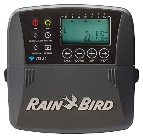 Rain Bird ST8I-2.0 Smart Indoor WiFi Sprinkler/Irrigation System Timer/Controller, WaterSense Certified, 8-Zone/Station, Compatible with Amazon Alexa (new model replaces Obsolete ST8I-WIFI)