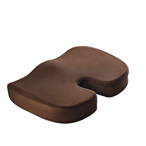 Lym1108-Office Chair Cushion - 100% Memory Foam - Sturdy Tailbone Pad - Hemorrhoids Pad, Sciatica, Low Back Pain - Car, Wheelchair, Desk Posture Corrector Net-Brown