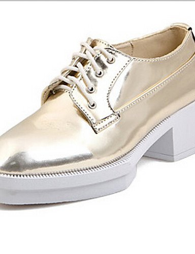 ZQ Zapatos de mujer - Plataforma - Punta Redonda - Oxfords - Casual - Semicuero - Plata / Oro , golden-us8 / eu39 / uk6 / cn39 , golden-us8 / eu39 / uk6 / cn39 silver-us5.5 / eu36 / uk3.5 / cn35