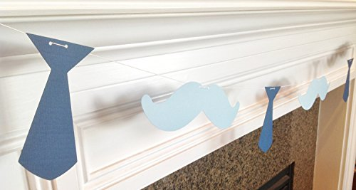 Streamer Neck (Mustache and Neck Tie Garland Banner - Navy Blue and Light Blue Little Man Collection - Party Packs Available)