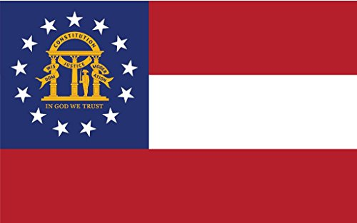 Georgia Flag Stickers (JMM Industries Georgia Flag GA Vinyl Decal Sticker The Peach State Car Window Bumper 2-Pack 5-Inches by 3-Inches Premium Quality UV-Resistant Laminate PDS316)