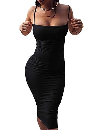 ae2369c9 GOBLES Women's Sexy Spaghetti Strap Sleeveless Bodycon Mid Club Dress (S,  Black)
