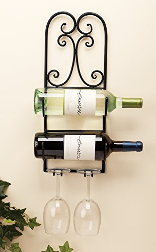 The Paragon Metal Wine Rack - Hanging Wine Wall Decor, 2 Bottle Wine Storage with Glass Holders - Hanging Wine Bottle Holder