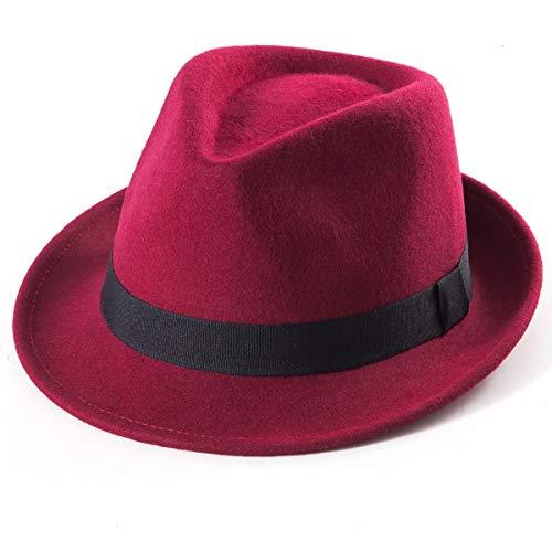 Wine Red Fedora Hats Men - Short Brim Hat for Ladies Classic Fedora Hat Trilby