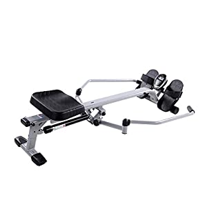 Sunny Health & Fitness SF-RW5639 Full Motion Rowing Machine Rower w/ 350 lb Weight Capacity and LCD Monitor by Sunny Distributor Inc.