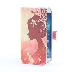 MOFY-Caso encantador de la muchacha del estilo de la PU con ranura para tarjeta y el soporte para i9500 Samsung Galaxy S4
