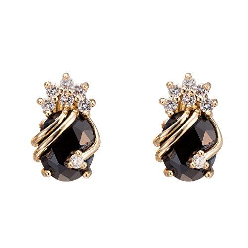Yazilind Elegant 18K Gold Plated Cubic Zirconia Multicolor Stud Earrings for Women ozvZ3z8hFg