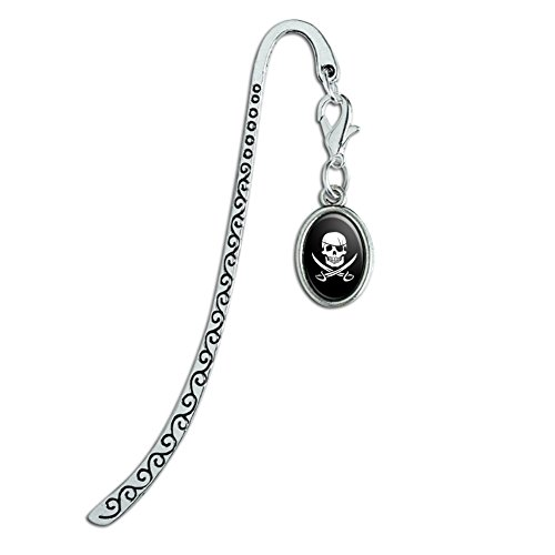 Pirate Bookmarks (Pirate Skull Crossed Swords Jolly Roger Metal Bookmark Page Marker with Oval Charm)