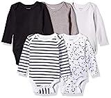 Hanes Ultimate Baby Flexy 5 Pack Long Sleeve Bodysuits, Grey/Black Stripe, 12-18 Months