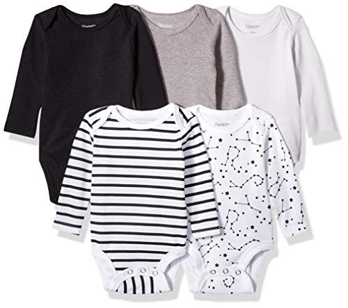 Hanes Ultimate Baby Flexy 5 Pack Long Sleeve Bodysuits, Grey/Black Stripe, 18-24 Months Black Long Sleeve Body