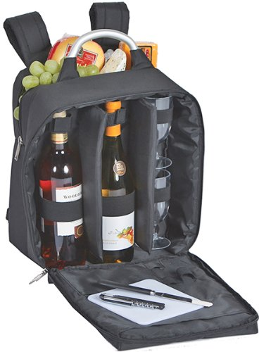 Wine And Cheese Back Pack With Thermal Foil Insulated Cooler By Picnic Plus