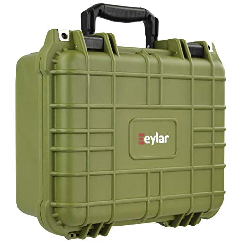 (Eylar Tactical Hard Gun Case Water & Shock Proof with Foam TSA Approved 13.37 Inch 11.62 Inch 6 Inch OD Green)