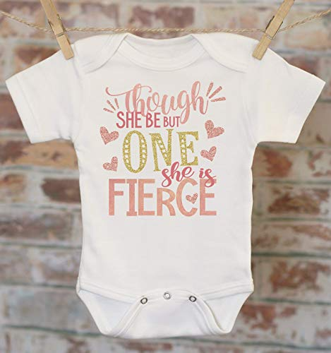First Birthday She Is Fierce Onesie®, Though She Be Little, 1st Birthday Outfit, Cute Baby Bodysuit, Pink Glitter Onesie -