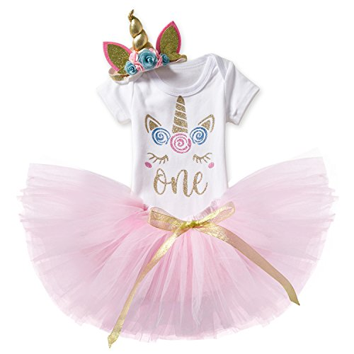 TTYAOVO Baby Girl 1st Birthday 3pcs Sets with Unicorn Headband & Romper & Skirts Size 1 Years Pink