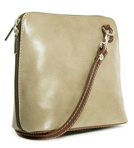 Big Handbag Shop, Borsa a tracolla donna One Nude - Brown Trim