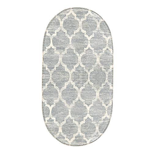 Lahome Moroccan Oval Area Rug - 2' X 4' Faux Wool Non-Slip Area Rug Small Accent Distressed Throw Rugs Floor Carpet for Door Mat Entryway Bedrooms Laundry Room Decor (Oval - 2' X 4', Gray)