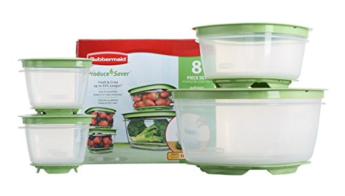 Rubbermaid 7J93 Produce Saver Square Food Storage Containers Set of 8 (Refrigerator Storage Containers)