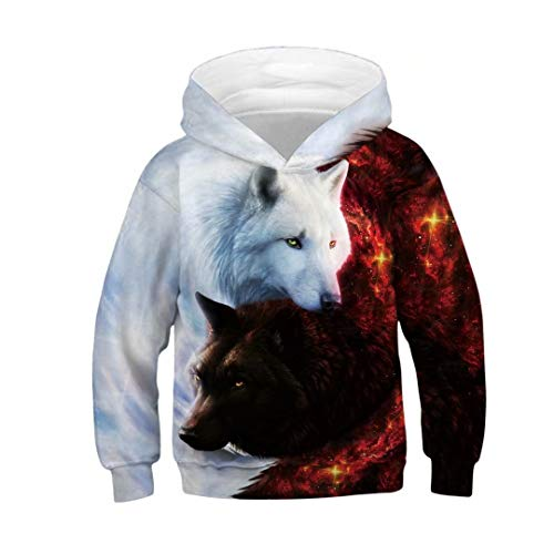 Tsyllyp Boys Girls Novelty Animal Wolf 3D Print Hoodies Sweatshirts Pullover