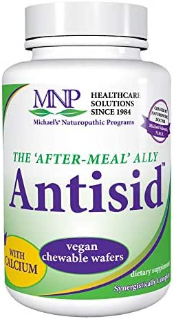Michael's Naturopathic Programs Antisid - 60 Chewable Vegan Wafers - The After Meal Ally, Contains Calcium, Marshmallow Root & Slippery Elm - Gluten Free, Kosher - 60 Servings