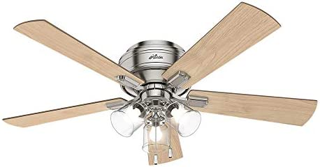 Hunter Fan Company 54209 Crestfield Indoor Low Profile Ceiling Fan with LED Light and Pull Chain Control, 52 , Brushed Nickel