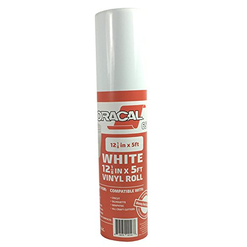12.125' x 5' Roll of Oracal 651 White Adhesive Craft Vinyl for Cricut, Silhouette, Cameo, Craft Cutters, Printers, and Decals - Gloss Finish - Outdoor and Permanent
