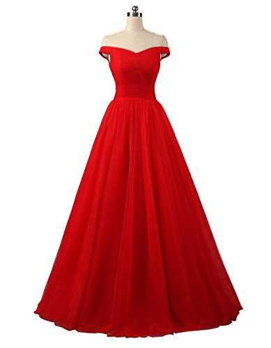Nina A-line Tulle Prom Formal Evening Dress Ball Gown Red 18W