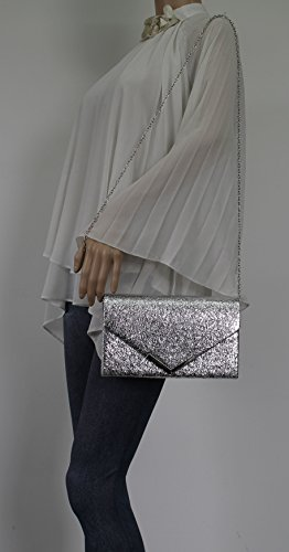 Leather Prom Clutch Silver Crushed Averie Party Faux Womens SWANKYSWANS Bag wYt41qT