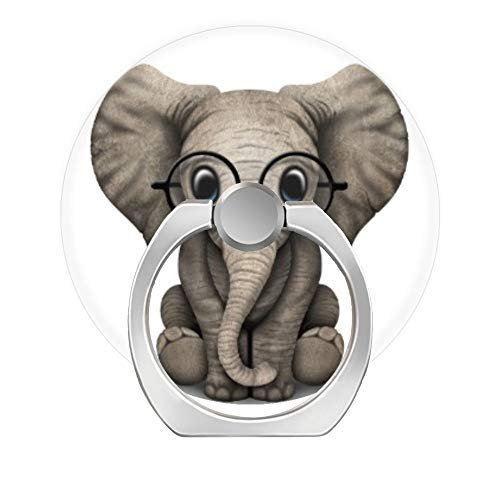 (LoveStand-Cell Phone Ring Holder 360 Degree Finger Ring Stand for Smartphone Tablet and Car Mount-Cute Baby Elephant with Reading Glasses White)