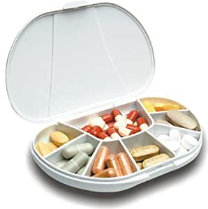 Multi-day Vitacarry 8 Compartment Pill Box Holds up to 60 Pills Actual Size: 4.5öw X 3.0öd X .93öh (White)