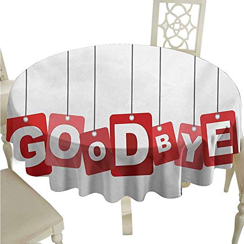 duommhome Going Away Party Oil-Proof Tablecloth Red Square Blocks Hanging with Letters Good Bye Farewell Artwork Print Easy Care D39 Red Grey White